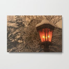 Lamplight in Winter Metal Print