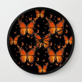 ORANGE MONARCH BUTTERFLIES BLACK MONTAGE Wall Clock