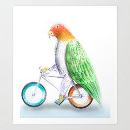 Happy Parrot and his bike Art Print