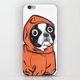 Boston Terrier Orange Hoodie iPhone Skin
