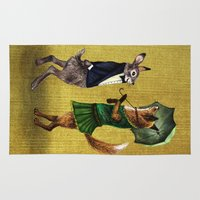 hare Area & Throw Rugs featuring Fox and Hare by Anna Shell