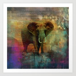 Abstract Grunge Elephant Digital art Art Print