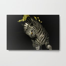 Closeup of Zebra Christmas Decoration in Palm Desert Metal Print