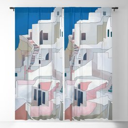 greece houses santorini Blackout Curtain