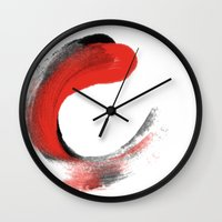 the strokes Wall Clocks featuring Strokes by Payal Shah