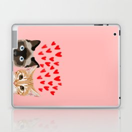 Valentines love cats siamese tabby cat lady gift cute kitten funny cat present for valentines day  Laptop & iPad Skin
