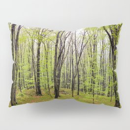 Spring green leafy deciduous forest Pillow Sham