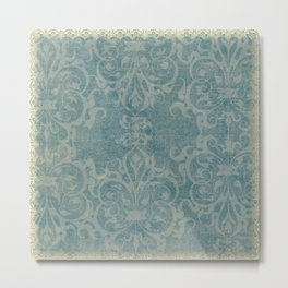 Antique rustic teal damask fabric Metal Print