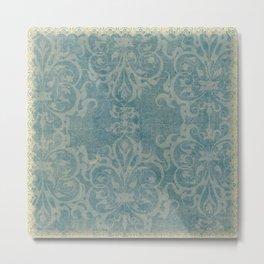Antique rustic teal damask fabric Metal Print