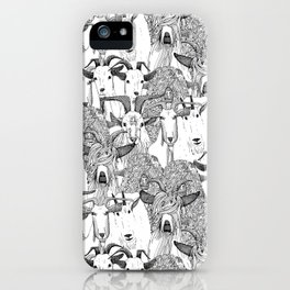 just goats black white iPhone Case