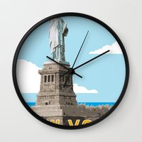 travel poster Wall Clocks featuring New York Travel Poster by Michael Jon Watt