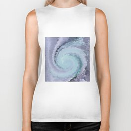 Multicolored mosaic in blue and sky blue colours . Biker Tank