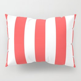 Coral red - solid color - white vertical lines pattern Pillow Sham