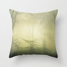 forest awakening - foggy forest scenery Throw Pillow
