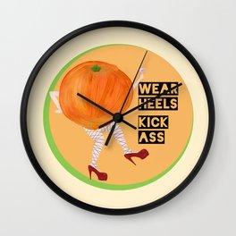 Burlesque Orange - Wear Heels, Kick Ass Wall Clock