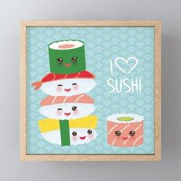 I love sushi. Kawaii funny sushi set with pink cheeks and big eyes, emoji. Blue japanese pattern Framed Mini Art Print