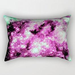 Fuchsia Green Galaxy Sparkle Stars Rectangular Pillow