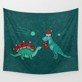 Cute Christmas Dinosaurs with Gift, Santa's Hats and Falling Stars, Teal Green Colors Wall Tapestry