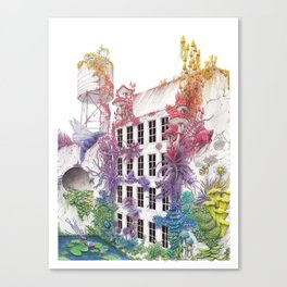 Water - Rainbow City - Watercolor Painting Canvas Print