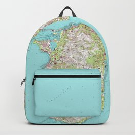 Vintage Topographical Map of Guam Backpack