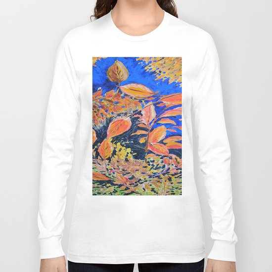 colored autumnleaves under the blue sky Long Sleeve T-shirt