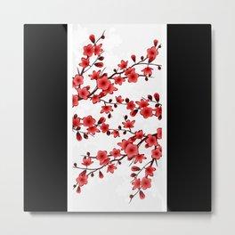 Red Black White Cherry Blossom Striped Metal Print