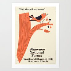 Shawnee National Forest Vintage travel poster Art Print