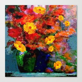 STILL LIFE PAINTING RED & YELLOW FLOWERS Canvas Print