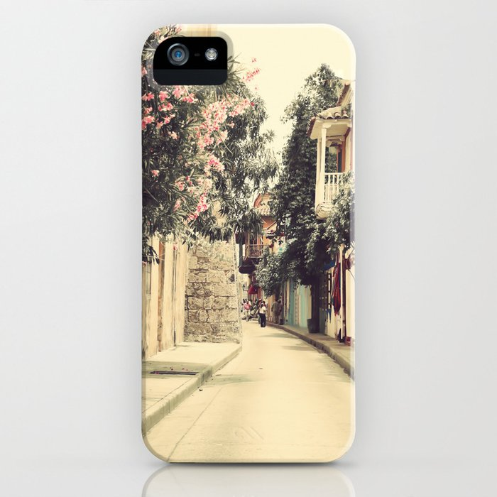 Just like a dream street, Cartagena (Retro and Vintage Urban, architecture photography) iPhone Case