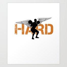 Weightlifter Barbells Bodybuilder Gym Weightlifting Train Hard Bodybuilding Gift Art Print