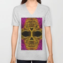 psychedelic geometric painting golden skull head with pink background Unisex V-Neck