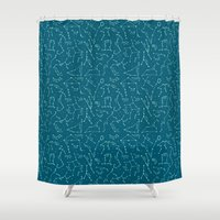 constellations Shower Curtains featuring Constellations by Ashley Hay