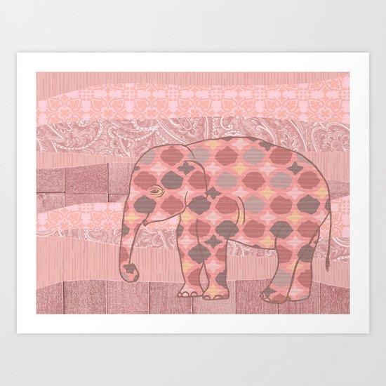 Bohemian Pink Elephant Art Print