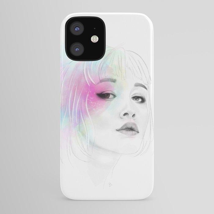 Pastel glowing Girl digital portrait iPhone Case