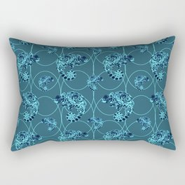 Chameleon Oneness in Midnight Vintage Psychedelic Blue Space Rectangular Pillow