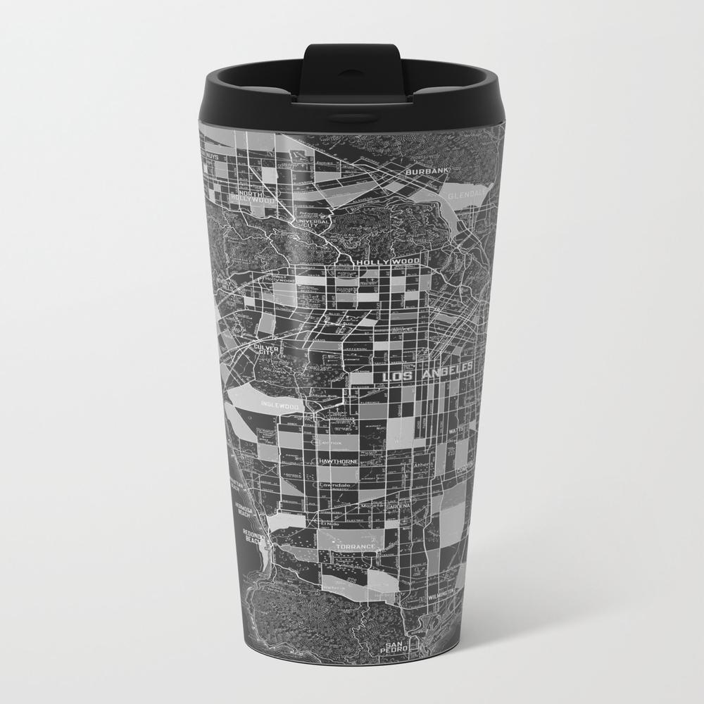 Los Angeles - Black Metal Travel Mug by Catherineholcombe MTM9074854