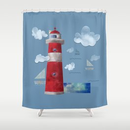 L for Lighthouse Shower Curtain