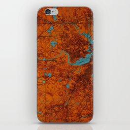 Boston 1893 old map, blue and orange artwork, cartography iPhone Skin