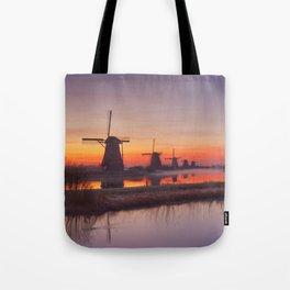 I - Traditional windmills at sunrise, Kinderdijk, The Netherlands Tote Bag