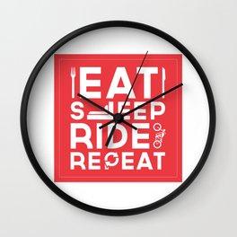 Eat Sleep Ride Repeat Wall Clock