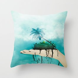 Crumbling paradise Throw Pillow