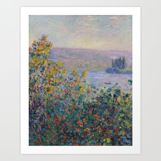 Flower Beds at Vetheuil by Claude Monet Art Print