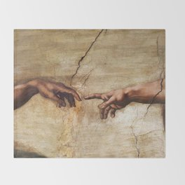 The Creation of Adam by Michelangelo Throw Blanket