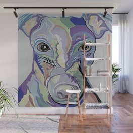 Greyhound in Denim Colors Wall Mural