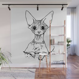 Big Eyed Pretty Wrinkly Kitty - Sphynx Cat Illustration - Nekkie - Cat Lover Gift Wall Mural