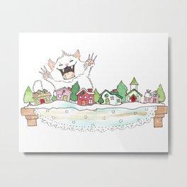 Fluffapurrus Attacks the Snow Village! Metal Print