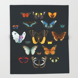 Entomology Vintage Butterfly Throw Blanket