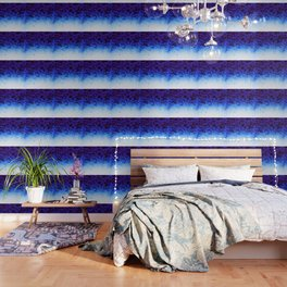 Indigo Blue Ombre Crystals Wallpaper