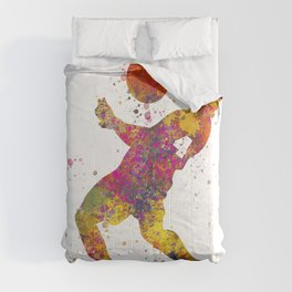 Soccer player isolated 08 in watercolor Comforters