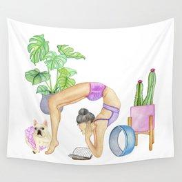 Yoga backbend & read Wall Tapestry
